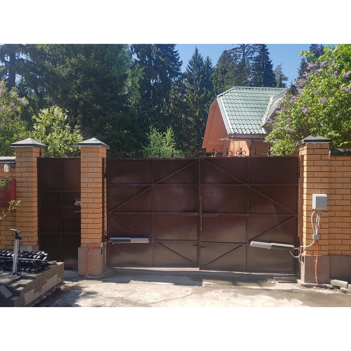 Распашные ворота с металлическим полотном и ковкой