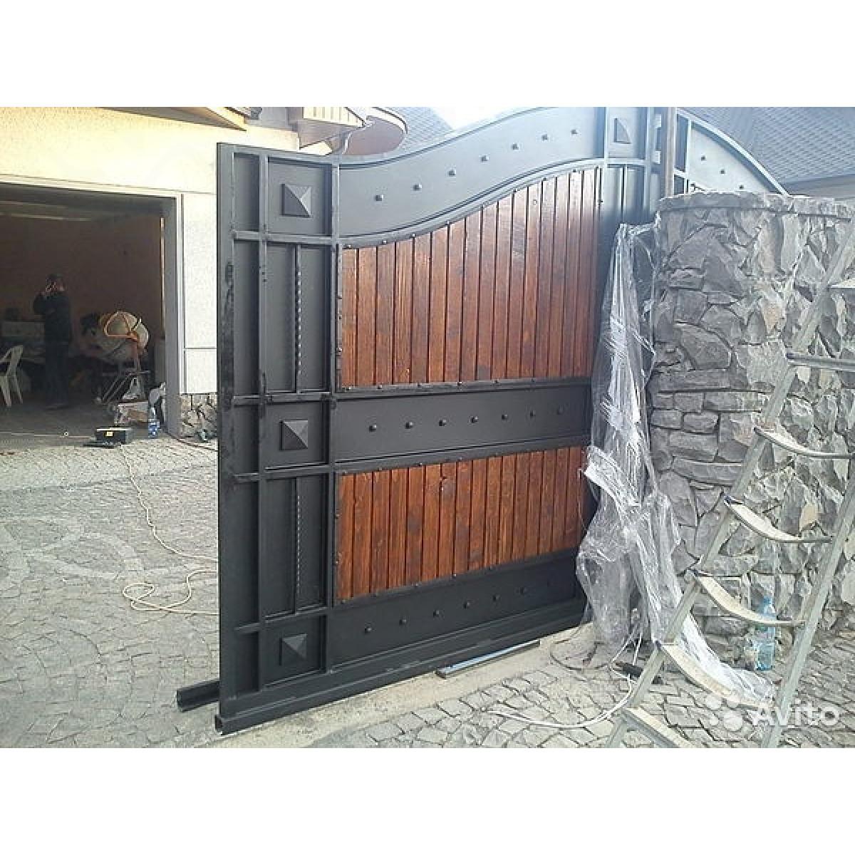 Откатные ворота с имитацией под распашные